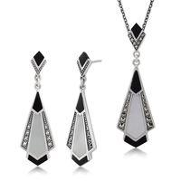 Sterling Silver Art Deco Black Spinel /& Marcasite Drop Earring and Ring Set